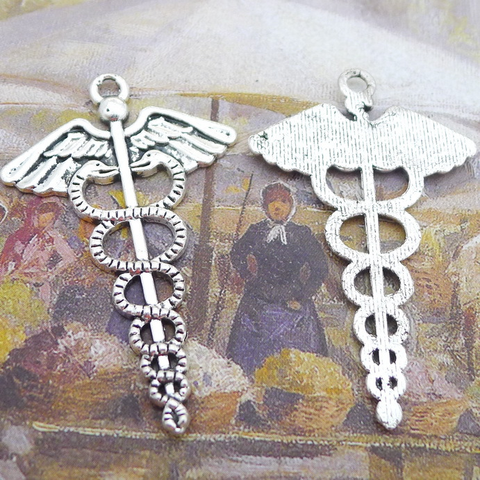 30pcs Religion wing serpent medical symbol sign Charm Antique silver pendant 31*48mm Handmade Jewelry Making DIY accessories