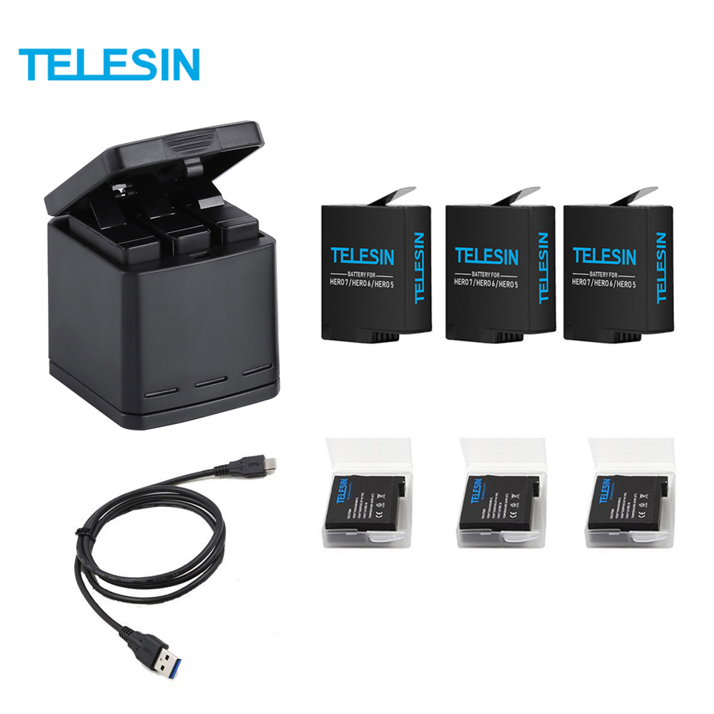 TELESIN 3 Slots LED Battery Charger Charging Storage Box +3 Battery Pack + Type C Cable for GoPro Hero 5 6 7 Camera Accessories