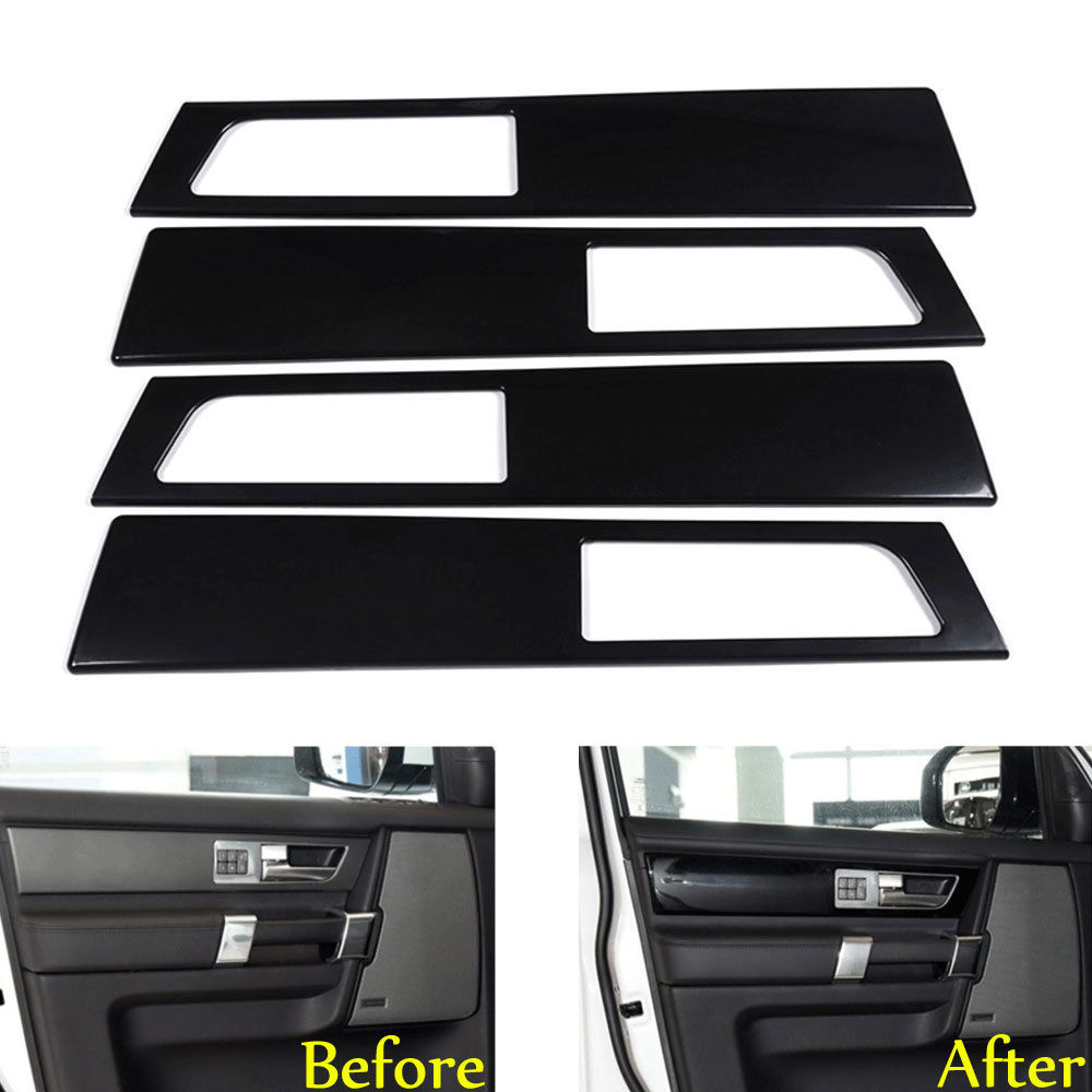 BBQ@FUKA 4pcs Car Black Interior Door Handle Cover Panel Trim For Land Rover Discovery 4 yaquicka carbon fiber style 4x car interior door side panel cover strips trim for land rover discovery 5 2017 car styling covers