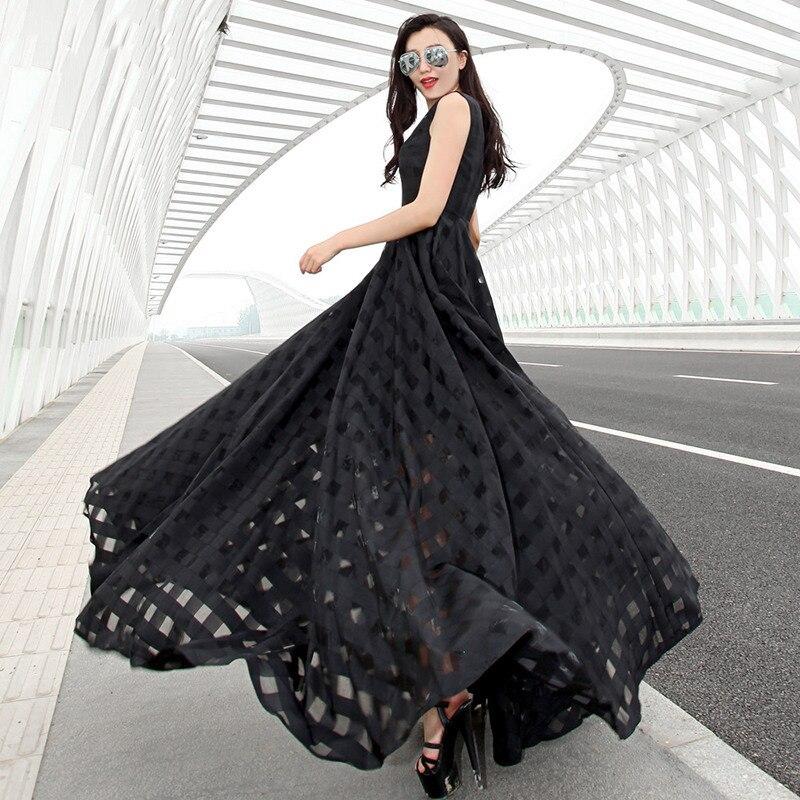 Uni Imprimé Soirée À Modeste Maxi Belle Elégante Manches Xxs Taille white Femme Carreaux De Black Dress Robe 2017 Dress Haute Sans 7xl Grande PqwYIOZ