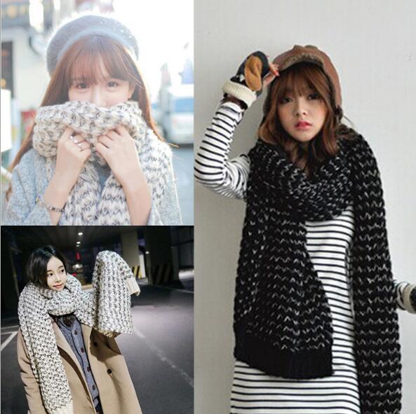 Ma Хай Мао шарф женский длинный утолщение корейский осень-зима новая пара воротник вязаный шерстяной платок шарф двойного назначения Шарфы для женщин