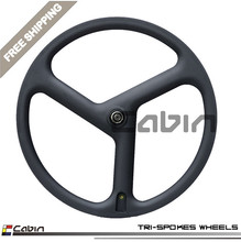 New design tri spoke,3 spoek carbon bike wheel,light weight,novatec hub,high quality,cheap price