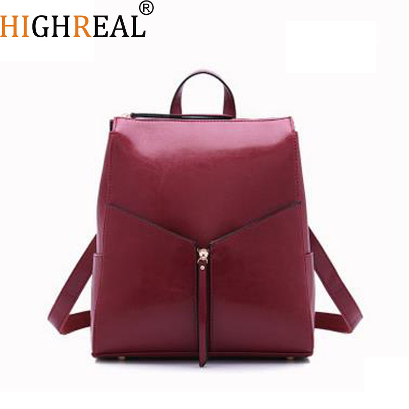 HIGHREAL Brand Luxury Fashion Oil Wax Cowhide Women Girl Female Genuine Leather Backpack Real Leather Woman Tote Bags J44HIGHREAL Brand Luxury Fashion Oil Wax Cowhide Women Girl Female Genuine Leather Backpack Real Leather Woman Tote Bags J44