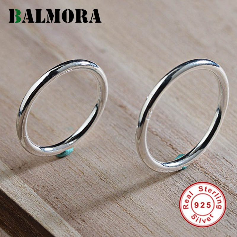 BALMORA 1 Piece Simple Fashion Ring 100% Real 925 Sterling Silver Midi Finger Knuckle Rings for Women Men Party Gifts Jewelry image