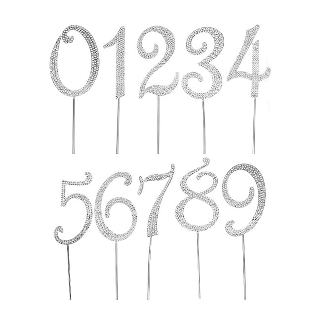Metal Diamante Rhinestone Cake Topper Numbers 0 9 Picks Birthday Anniversary Toppers Party Wedding Decorations Silver