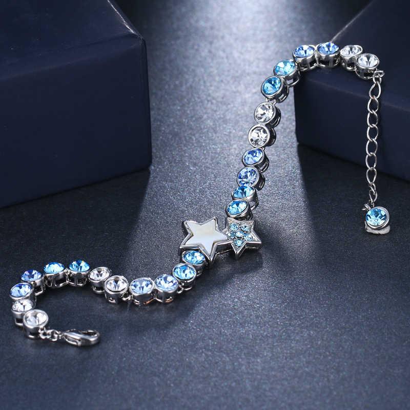Emmaya Biru Muda Kristal Bulat Gelang Rantai Gelang untuk Wanita Desain Fashion Wanita Murah Perhiasan