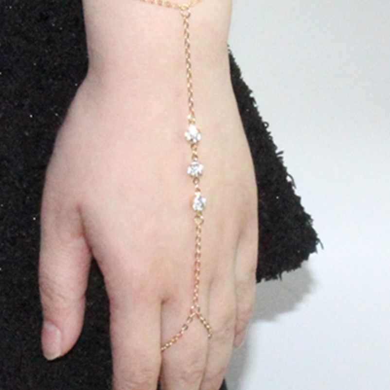 Новинка, простая модная цепочка на палец, золотой цвет, Невольничий браслет-цепочка, многослойный Хрустальный Браслет, ювелирное изделие, Очаровательная цепочка для женщин ns18