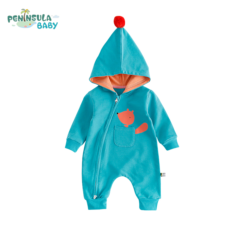 Autumn Long Sleeve Newborns Baby Rompers Fashion Boys Girls Clothes Hooded Cartoon Fox Pocket Infant Jumpsuit Outerwear Costume