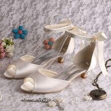 (20สี) Wedopusสบายมองลอดนิ้วเท้าส้นเท้าต่ำด้วยริบบิ้นMarfilรองเท้าเจ้าสาวรองเท้าแตะ