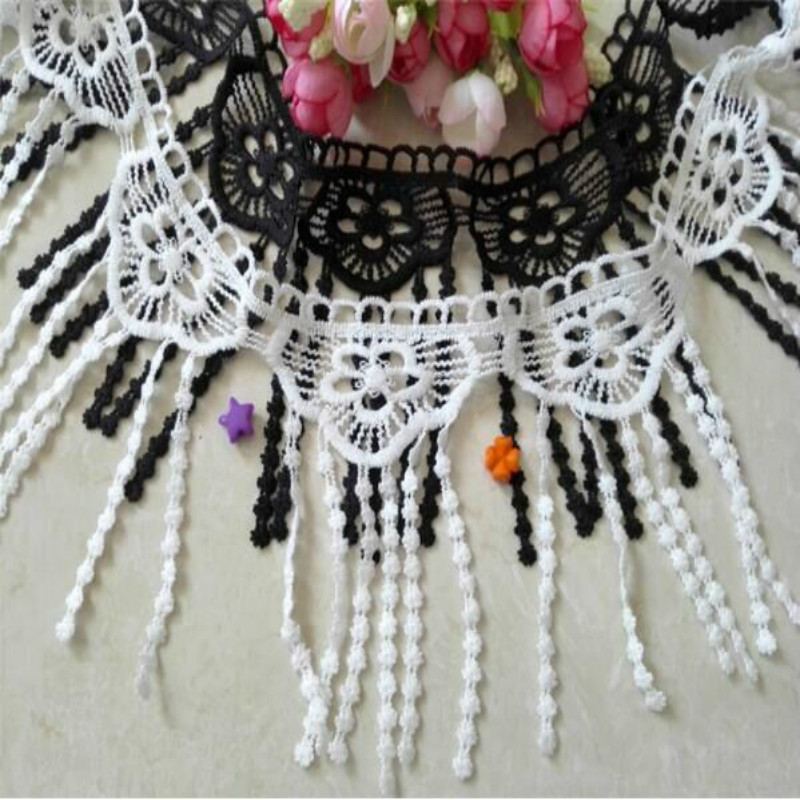Tassel Lace Trim Clothing  Accessories DIY Fabric Decoration Water Soluble Black White Embroidery Cloth