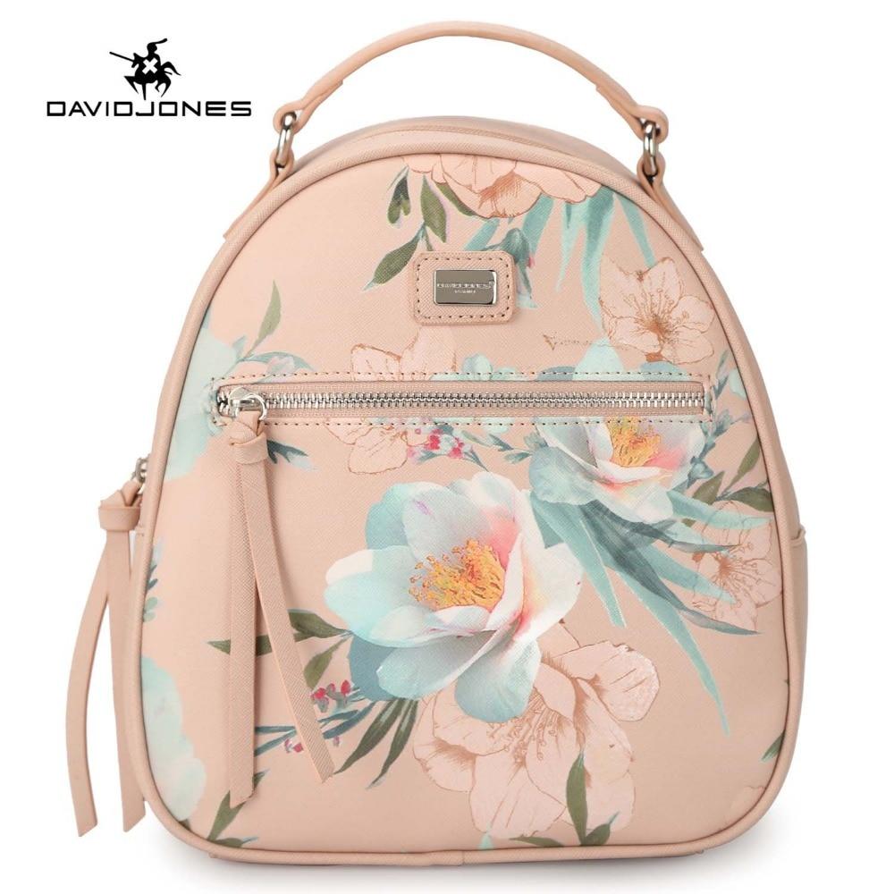 DAVIDJONES women backpacks faux leather female shoulder bags big lady flower school bag girl embroidery softpack drop shipping