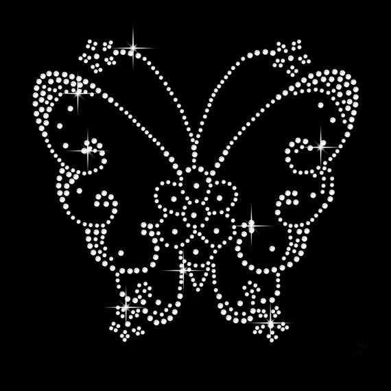 2pc lot Fluttering Butterfly hot fix rhinestone transfer motifsiron on crystal  transfers design applique patches 7fb63cdd32ff