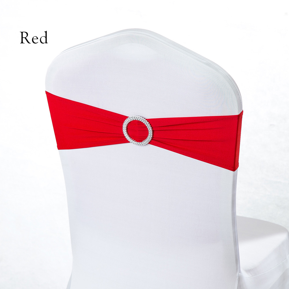 Wedding Ceremony Party Decoration Red/Yellow/Blue/Pink Stretch Elastic Spandex Lycra Hotel Banquet Chair Sash Band 100pcs/lot(China)