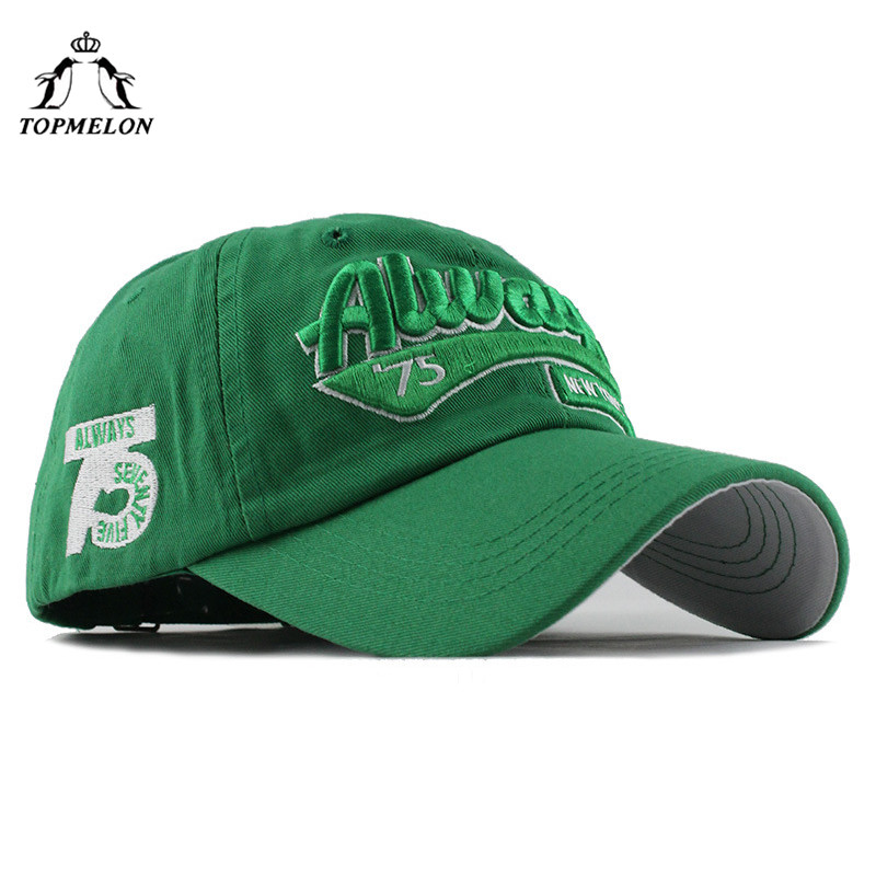 TOPMELON Always 75 Hat Adjustable Letters Embroidery   Baseball     Cap   Cotton Snapback Green Navy Yellow Black White   Caps
