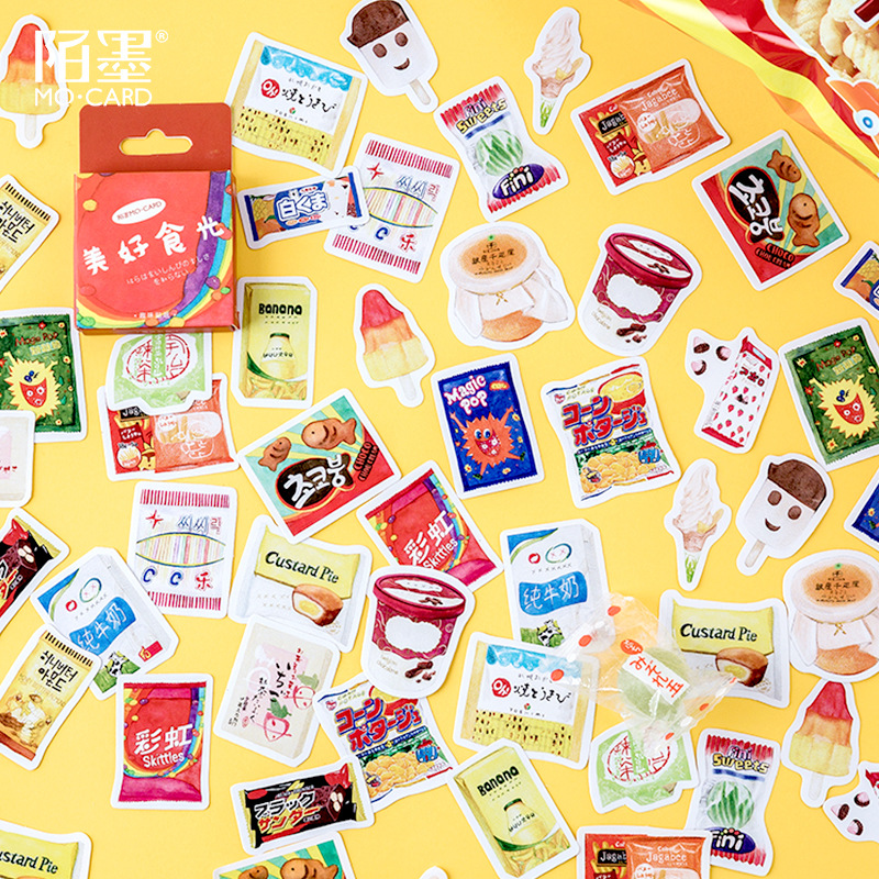 45 Pcs/pack Cute Snacks Stationery Stickers Sealing Label Travel Sticker Diy Scrapbooking Diary Planner Albums Decorations