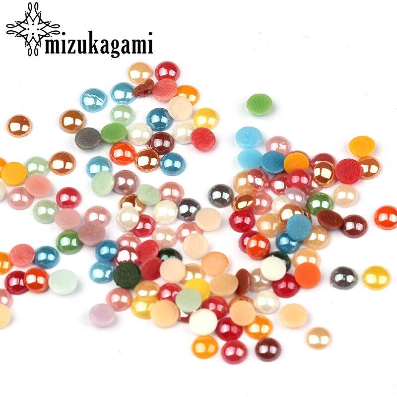 100 шт./лот 6 мм Цвет ful смешанные Цвет Керамика Shimmer имитация жемчуг полукруглый плоское основание шарики для DIY аксессуары и украшения