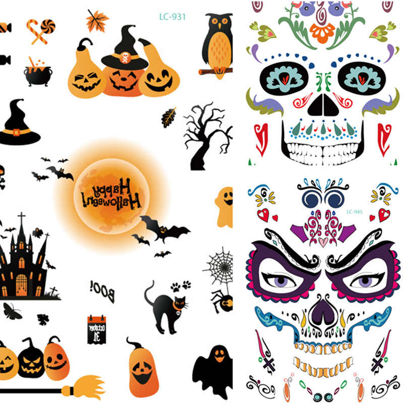 e305dc900 Detail Feedback Questions about 1pcs Skull Face Sticker Halloween ...