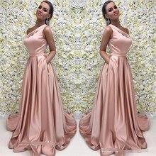A Line Pink Long Evening Dress 2019 One Shoulder Satin Formal Prom Event Gown Plus Custom robe de soiree abiye gece elbisesi