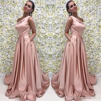 A Line Pink Long Evening Dress 2019 One Shoulder Satin Formal Prom Event Gown Plus Custom robe de soiree abiye gece elbisesi formal dresses mermaid evening dress long 2019 backless robe de soiree abiye gece elbisesi