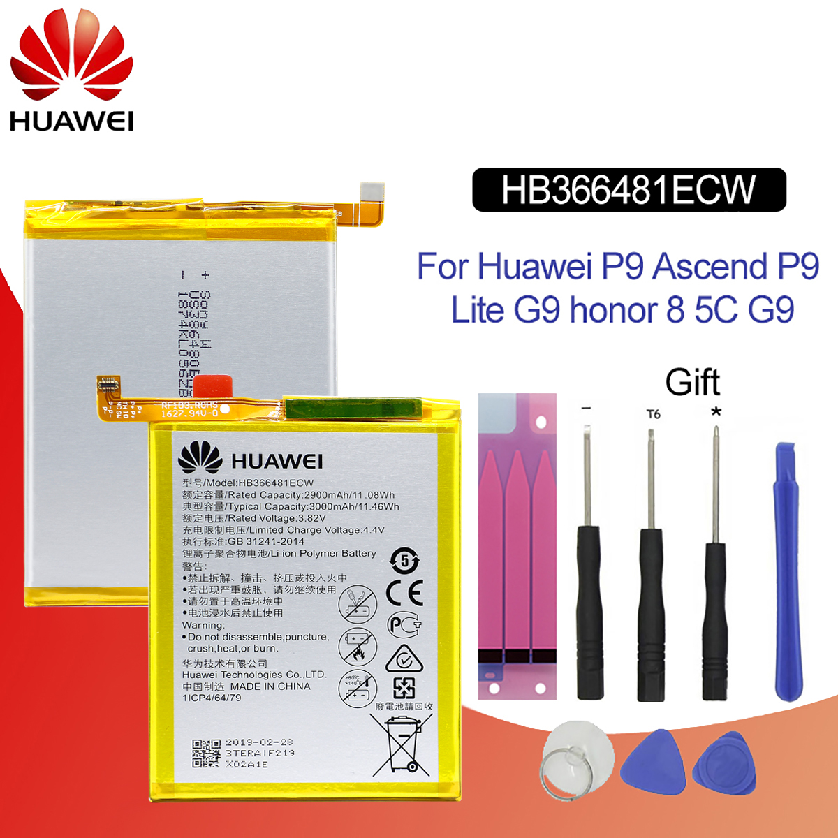 Original Battery For HUAWEI HB366481ECW 2900mAh For Huawei Ascend P9 P9 Lite honor8 Lite 5C P10 Lite Replacement Phone Battery|Mobile Phone Batteries| |  - title=