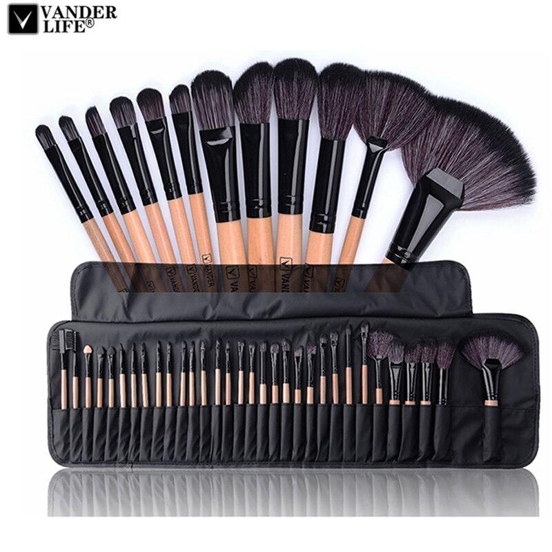 32pcs Pincéis de Maquiagem Profissional Definida Maquiagem Em Pó Escova maquillage Pinceaux Kit de Beleza Ferramentas de Cosméticos Da Sombra Pincel de Lábios Saco