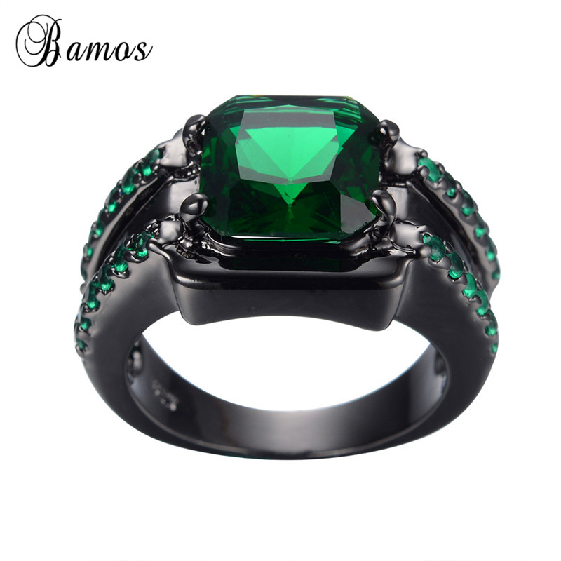Jewellery & Watches Size 7-10 Womens Mens Fashion Black Gold Filled Emerald Wedding Ring Gift