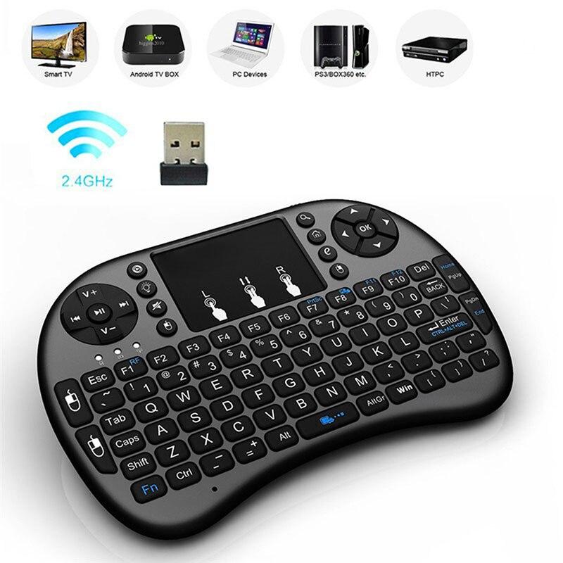 I8 русская версия 2,4 ГГц Беспроводная клавиатура Air mouse Сенсорная панель Teclado ручной для Android tv BOX PC