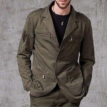 Primavera otoño algodón BLAZERS hombres traje de ocio de manga larga Thin Man abrigo exterior ajustado ropa de hombre