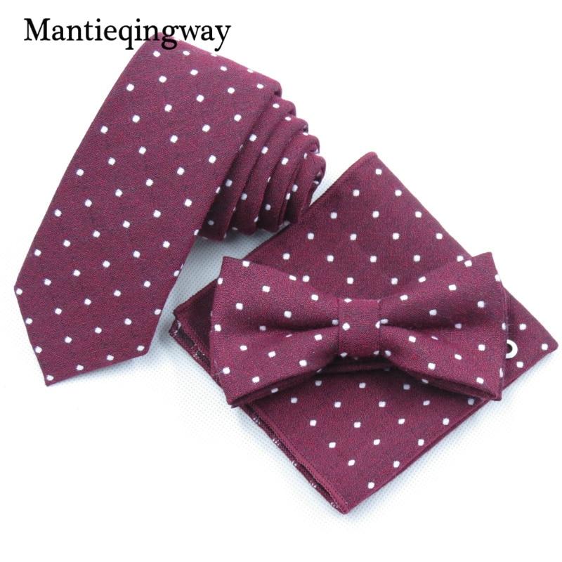 Besorgt Mantieqingway Baumwolle Krawatte Set Business Anzüge Taschentuch Krawatte Bowtie Dot Tasche Platz Brust Handtuch Taschentücher Für Hochzeit Gute WäRmeerhaltung