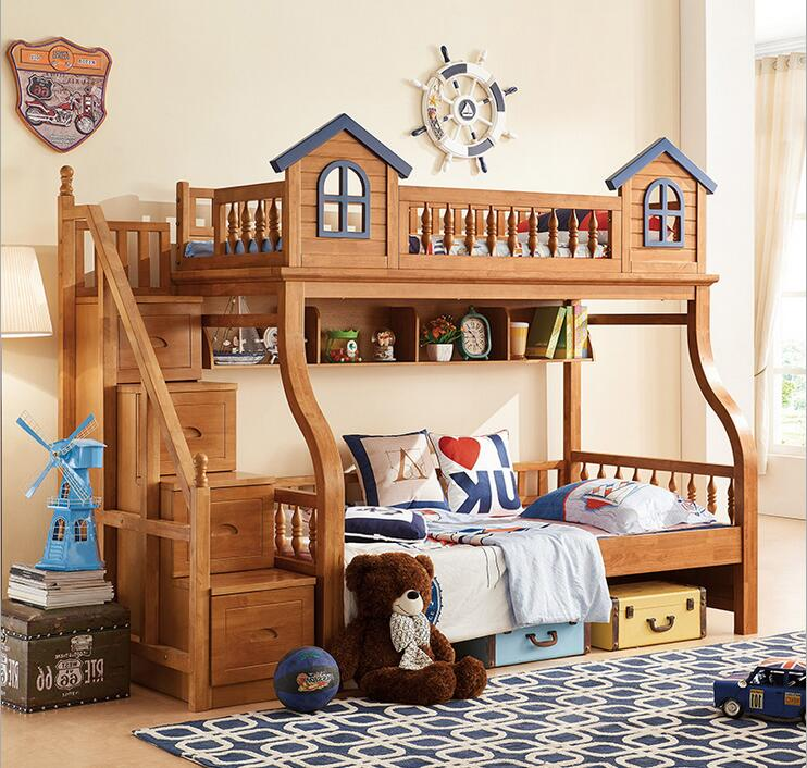 Kids Beds For Boys And Girls Bedroom Furniture Castle Bunk Bed Children s  Twins Double Single Loft. Popular Twin Beds Wood Buy Cheap Twin Beds Wood lots from China