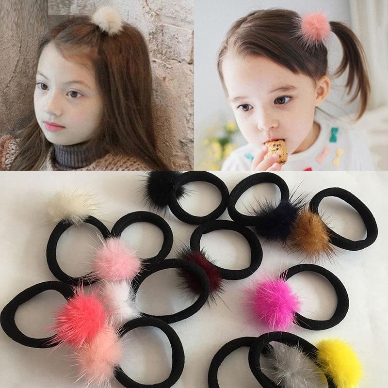 5PCS Little Girls/' Pompom Hair Ties Double Pom Pom Elastic Hair Band Hair Ropes