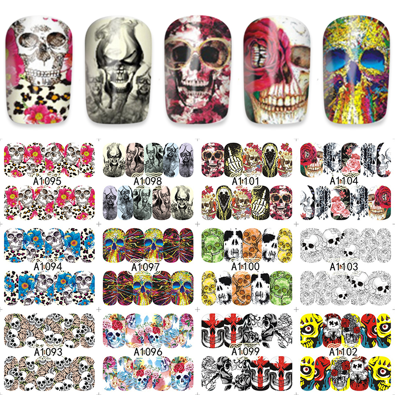 Active Lcj 16*25.5cm 12pcs/sheet Skull Design Nail Art Water Transfer Decal Sticker For Nail Art Tattoo A1093-1104 Demand Exceeding Supply Beauty & Health