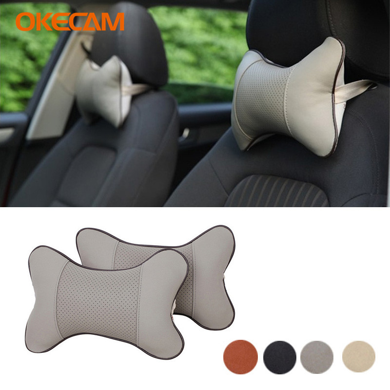 2PCS Car Headrest Neck Pillow <font><b>Interior</b></font> Accessories For <font><b>Mercedes</b></font> Benz W203 W211 W204 AMG W124 W210 W205 W202 W212 W213 W220 <font><b>W201</b></font> image