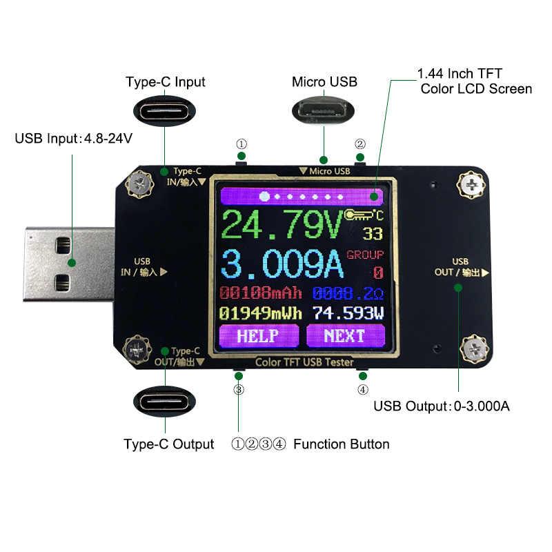 USB Tester Type-C Safety Digital Color TFT Voltmeter Voltage Current Detector