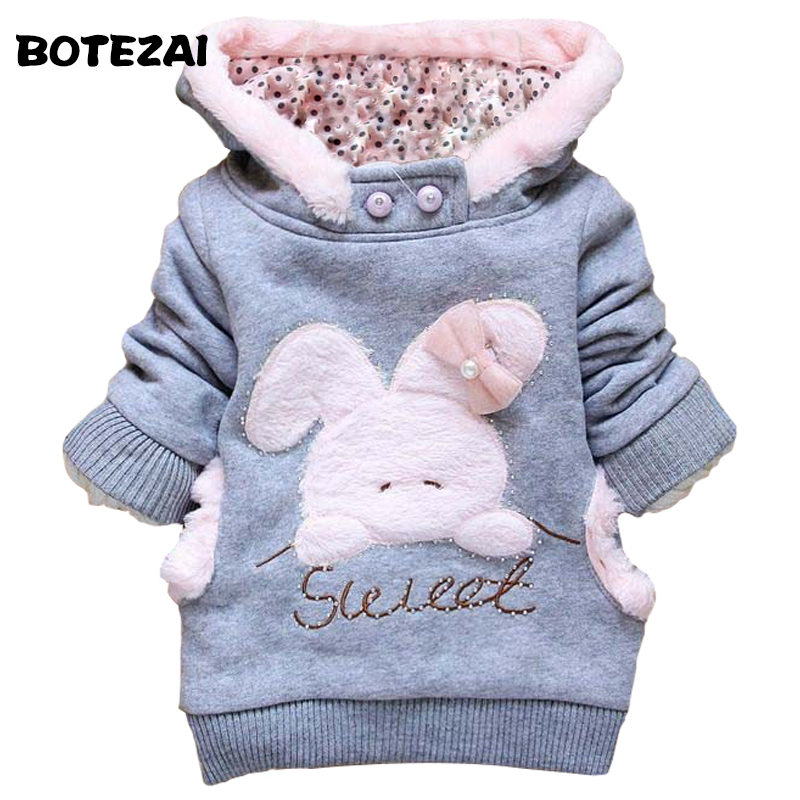2017 Retail Children Clothing Cartoon Rabbit Fleece Outerwear girl fashion clothes/hooded jacket/Winter Coat roupa infantil