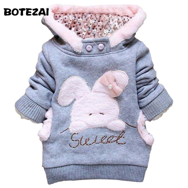 2017 Retail ropa de niños conejo de dibujos animados de lana abrigo ropa de la manera de la muchacha/capucha chaqueta/abrigo de invierno ropa infantil