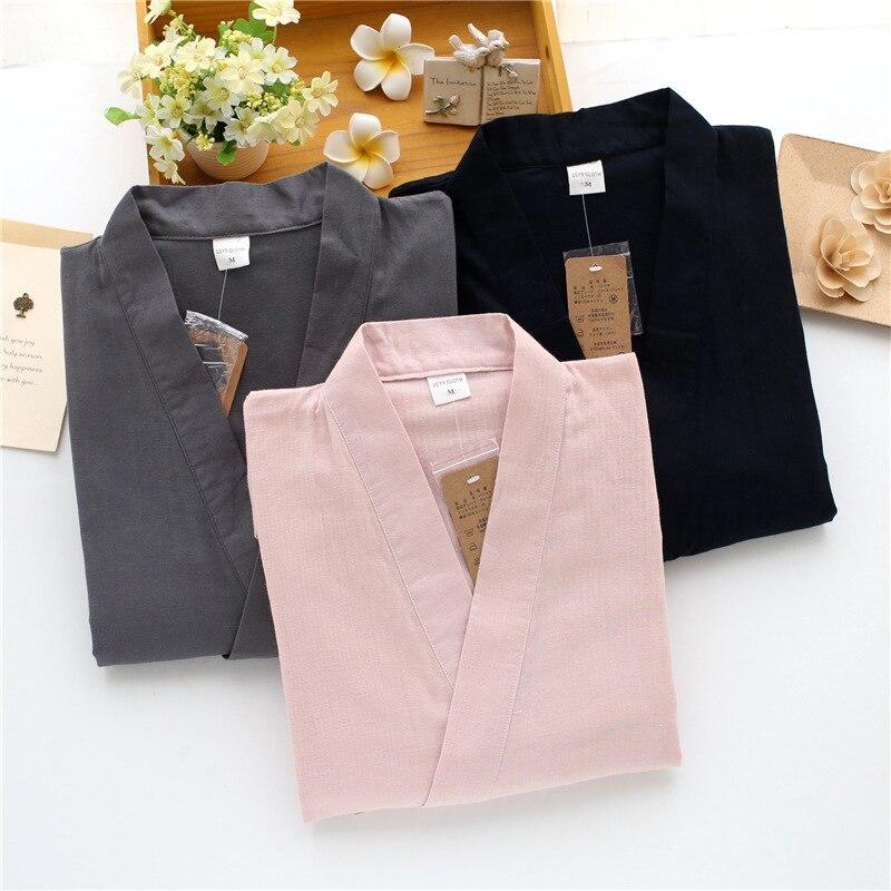 New 100% Cotton Men Japanese Pajamas Sets Simple Kimono Yukata Loose Nightgown Sleepwear Bathrobe Leisure Wear Lover Homewear
