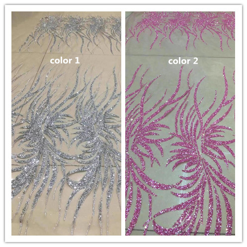 Newest Sat 1 1619 african tulle mesh fabric sparkly glued glitter sequins lace fabric for party