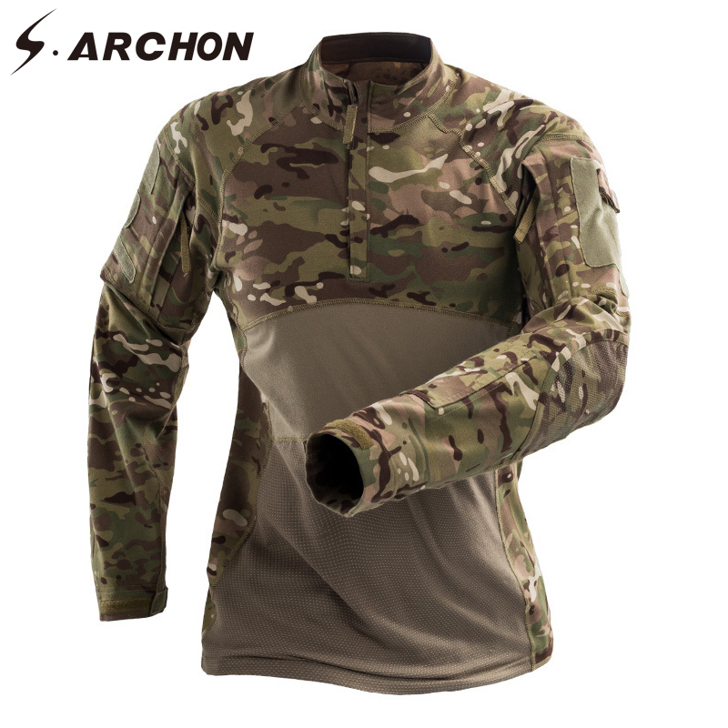S.ARCHON 2018 New Army Long Sleeve T Shirt Men Tactical Camouflage T Shirt Military Multicam Camo Solider Combat T Shirts