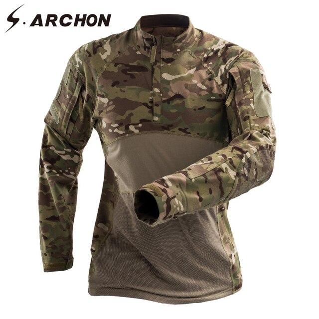 S. ARCHON 2018 новая армия Футболка с длинными рукавами Для мужчин Мужская камуфляжная футболка в стиле милитари MultiCam камуфляж для мальчиков плотные армейские футболки