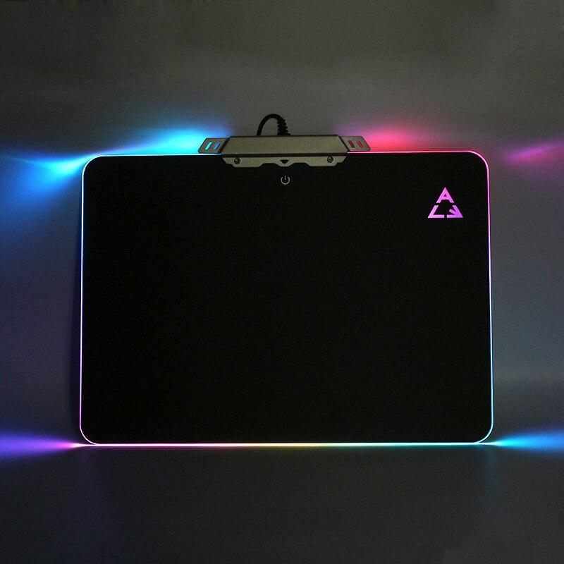 Tapis de souris dur de jeu professionnel éclairage rvb tapis de souris antidérapant PVC fond de Silicone éclairage USB tapis de souris pour PC ordinateur portable LOL CS