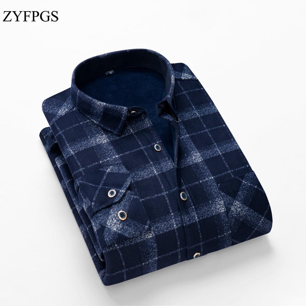 ZYFPGS 16 Colors Fashion Winter Long Sleeve Plush Shirt Men Thicken Warm Plaid Dress Shirts Warm Plus Velvet Shirts Male 1120