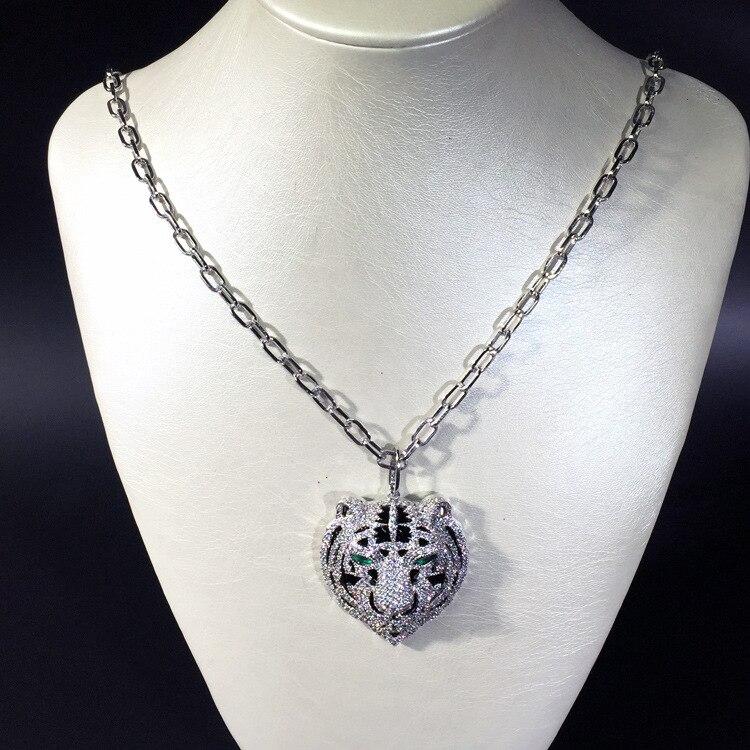 Bijoux en cuivre chaud pour les femmes tête de panthère collier AAA cubique zircone émail léopard animal long pendentif en or rose marque de luxe