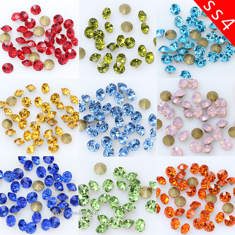 144/1440p ss4 Round color pointed foiled back Cut glass stone czech crystal rhinestones Nail Art decoration jewelry making Beads