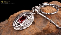 Bahamut 925 Silver Men's jewelry silver personality retro and Guardian Angel Pendant Necklace