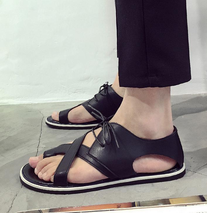 Summer men shoes lace up sandals men comfortable leather