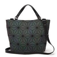 Fashion Japan Style Women Luminous Sac Baobao Bag Diamond Tote Geometry Quilted Shoulder Bags Laser Plain