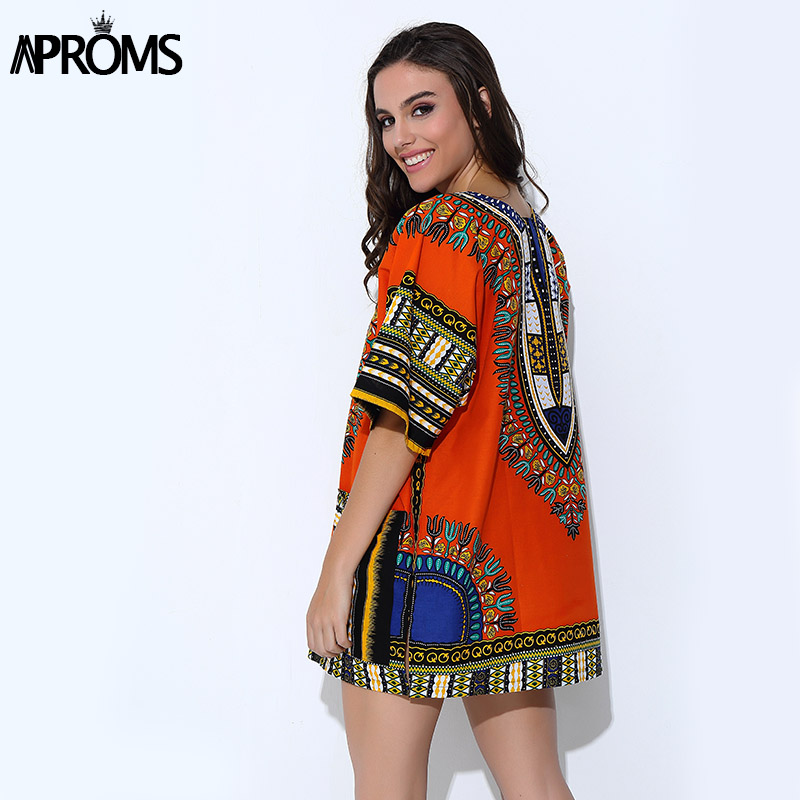 Traditional African for Women Shirt Unisex Orange Classic Cotton Dashiki Tops Plus Size Summer Print Blouse
