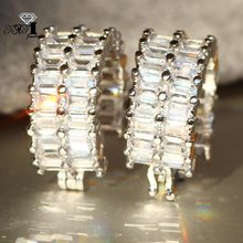 YaYI Jewelry Fashion Princess Cut 15CT White Zircon Silver Color long Ear Earrings wedding Party tassel Earrings Gifts(China)