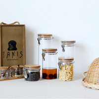 1800ml zakka borosilicate glass storage bottles jars with lid large capacity honey candy jar kitchen storage container glass jar